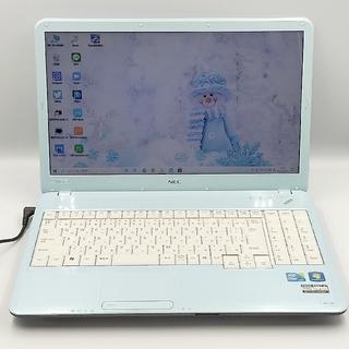 エヌイーシー(NEC)のふんわりエアリーブルー♥届いてすぐ使える*新品SSD オフィス マウス付*訳あり(ノートPC)