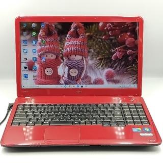 エヌイーシー(NEC)の希少なレッド♥届いてすぐ使える♩レポート作成ok*新品SSD オフィス マウス付(ノートPC)