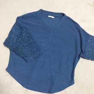 袖ボア ファーニットセーター ネイビートップス 7分袖