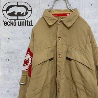 エコーアンリミテッド(ECKŌ UNLTD(ECKO UNLTD))のエコーアンリミテッド ミリタリーシャツカバーオール オーバーサイズ ベージュ L(カバーオール)