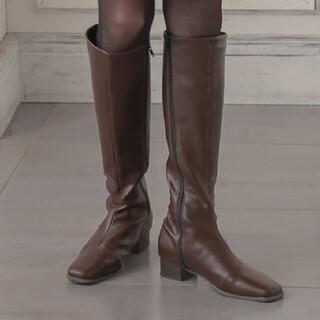 コウベレタス(神戸レタス)のスクエアトゥスリムシルエットロングブーツ [I2208](ブーツ)