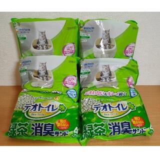 ユニチャーム(Unicharm)の【送料無料】デオトイレ飛び散らない  緑茶成分入り消臭サンド 4L × 4袋(猫)