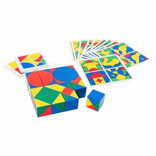 キューブ ブロック 木製 パズル タングラム 知育玩具 おもちゃ 図形