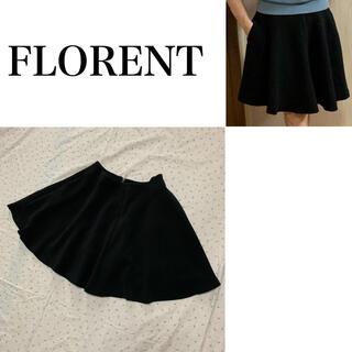 フローレント(FLORENT)の美品 フローレント ストレッチ ポンチ素材 黒 フレアスカート 波打つシルエット(ひざ丈スカート)