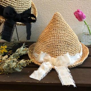 ザラ(ZARA)のオーダー 受付★ リネン りぼん の とんがり帽子 麦わら帽子 どんぐり帽子(帽子)