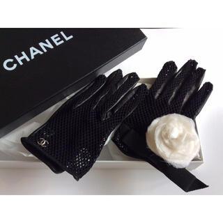 CHANEL - 【 CHANEL 】シャネル  ★ カメリア装飾・レザー手袋 ★1回着用
