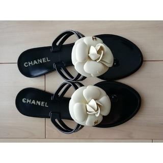 CHANEL - [美品]CHANEL カメリア ビーチサンダル 35