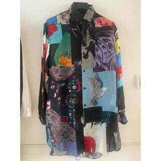 Yohji Yamamoto - 試着のみ未使用品 ヨウジヤマモトプールオム パッチワーク衿マチロングシャツ
