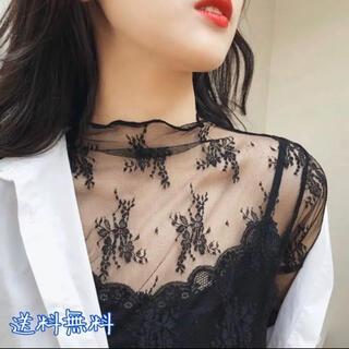 レディース シースルー トップス 花柄♡ブラック 黒シースルー カットソー 韓国