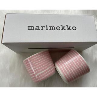 marimekko - マリメッコ シイルトラプータルハ ピンクxホワイト ラテマグ 2個
