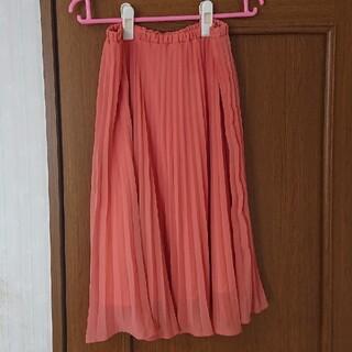 ボルニー(BORNY)のBORNY*サーモンピンクのプリーツスカート*フリーサイズ(ひざ丈スカート)