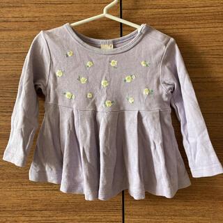 petit main - プティマイン ペプラムお花柄長袖Tシャツ 90 ラベンダー