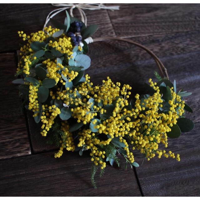 ミモザとユーカリのハーフリース✳︎ドライフラワーwreathe◎20センチ ハンドメイドのフラワー/ガーデン(リース)の商品写真