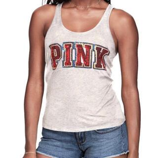 ヴィクトリアズシークレット(Victoria's Secret)のヴィクシー VS PINK 赤キラキラ グレータンクトップ サイズ L (タンクトップ)