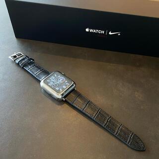 Apple Watch - 【新作】本革使用 アップルウォッチ クロコダイル調 レザーバンド 42/44mm