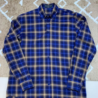 Balenciaga - BALENCIAGA バックロゴ チェックシャツ 青