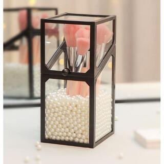 メイクブラシケース 白パール付き 化粧箱 小物入れ インテリア ブラック(メイクボックス)