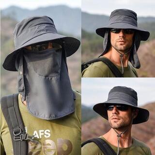 479.フェイスカバー サンバイザー サファリハット フェイスマスク 帽子 釣り(ウエア)