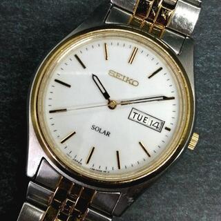 セイコー(SEIKO)のセイコー ソーラー ホワイトダイヤル メンズ腕時計 SEIKO(腕時計(アナログ))