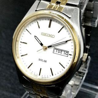 セイコー(SEIKO)のセイコー ソーラー 電池交換 不要 ホワイト文字盤 ツートンバンド メンズ腕時計(腕時計(アナログ))
