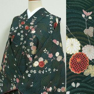 深藍色に波と桜や菊 洗える小紋(着物)