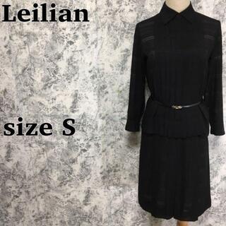 レリアン(leilian)のシルク混 レリアン プリーツ ブラウス スカート セットアップスーツ 黒 S(スーツ)
