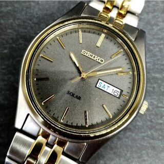 セイコー(SEIKO)のセイコー ツートン ステンレススチール ソーラーウォッチ メンズ 腕時計(腕時計(アナログ))
