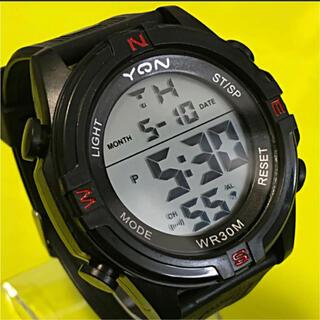 新品 YQN デジタルLEDウォッチ  ブラックレッド アウトドア LED腕時計(腕時計(デジタル))