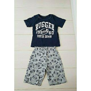 シマムラ(しまむら)のラグビー アメフト 柄 Tシャツ、半ズボン セットアップ上下  90(その他)