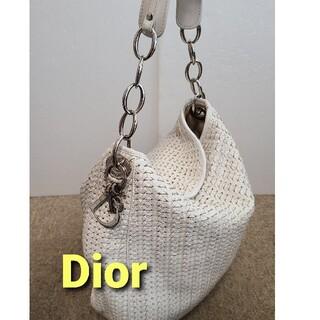 Dior - Dior ディオール 編み込み メッシュ チェーン ショルダーバッグ ホワイト