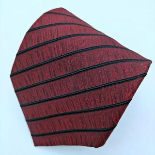 ジャンポールゴルチエ(Jean-Paul GAULTIER)のゴルチエオム ネクタイ ストライプ ボルドー 黒 シルク 日本製(ネクタイ)
