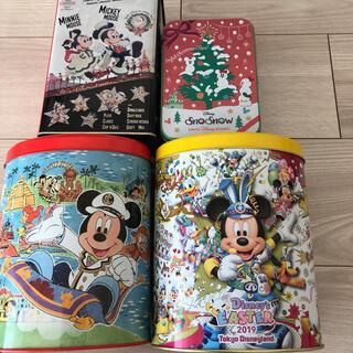 ミッキーマウス(ミッキーマウス)のディズニーランド、ディズニーシー お菓子空き缶 4個(小物入れ)