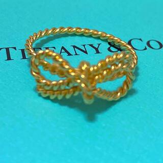 Tiffany & Co. - 美品tiffanyツイストリボンk18ゴールドリング12号