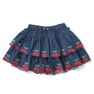 mezzo piano - 新品♡チェリー刺しゅう2段フリルキュロットスカート