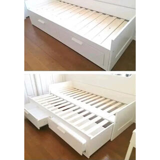 イケア(IKEA)のIKEA ソファベッド BRIMNES ブリムネス シングルダブル 大容量収納(ソファベッド)