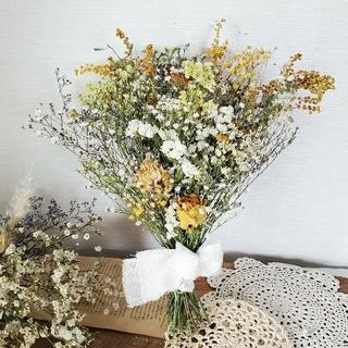 専用ミモザとかすみ草とバラのナチュラルドライフラワースワッグ 花束 ブーケ(ドライフラワー)