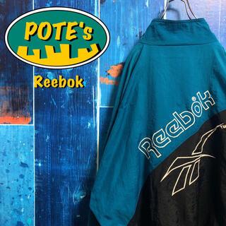 Reebok - 【リーボック】ベクター刺繍ビッグロゴバイカラーナイロンジャケット 90s