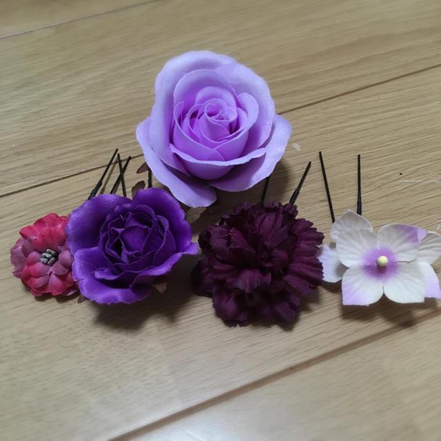浴衣 ♡花かざり 髪飾り レディースの水着/浴衣(和装小物)の商品写真
