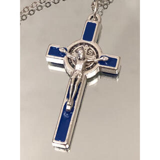 聖ベネディクト十字架 ネックレス ●十字架 シルバー×ブルー