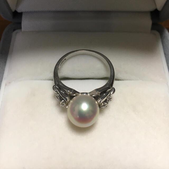 MIKIMOTO(ミキモト)のミキモト 花珠級 ダイヤモンド×パール リング K14WG 8.5mm 3.8g レディースのアクセサリー(リング(指輪))の商品写真