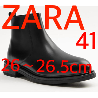 ZARA - 希少 ラスト1点 ZARA リアルレザーラウンドトゥアンクルブーツ