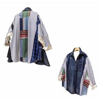PANAMA BOY - デニムMIXリメイクシャツ