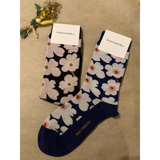 marimekko(マリメッコ)のAHH様専用 マリメッコ靴下 新柄2点セット レディースのレッグウェア(ソックス)の商品写真