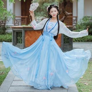 中国漢服刺繍 セットアップ マキシスカート トップス 卒業式発表会パーティー(衣装一式)