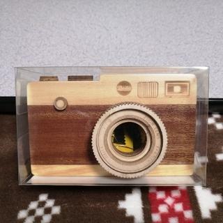 カルディ(KALDI)のカルディ 一眼レフカメラ 木箱 チョコレート 茶色 ブラウン ホワイトデー 木製(菓子/デザート)
