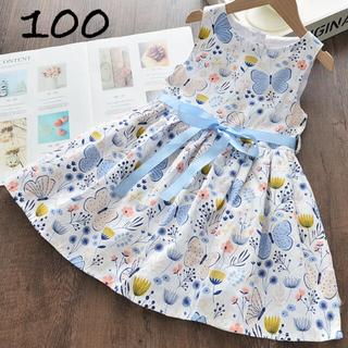 100 子供 蝶と花柄 の プリント ノースリーブ ブルーリボン ワンピース♡