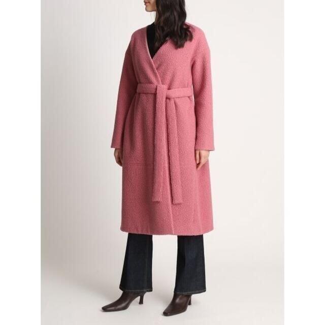 Mila Owen(ミラオーウェン)のロングエコファーガウンコート 1 ピンク レディースのジャケット/アウター(ガウンコート)の商品写真