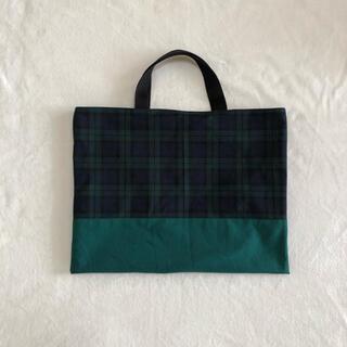 ネイビー×グリーンチェックのレッスンバッグ 緑 オーダーページ(バッグ/レッスンバッグ)