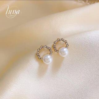 STAR JEWELRY - Pearl Round pierce★s925 post  mini
