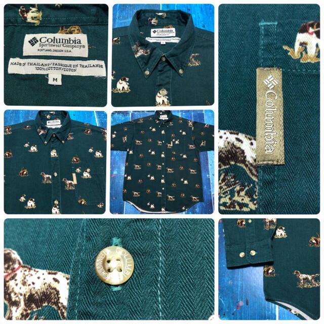 Columbia(コロンビア)の【コロンビア】アニマル柄ドッグ柄ロゴタグ入りヘリンボーン総柄ハンティングシャツ メンズのトップス(シャツ)の商品写真
